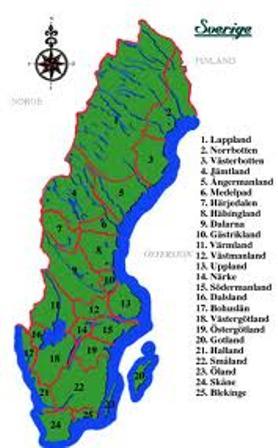 Karta Over Sveriges 25 Landskap.Sverigeguiden
